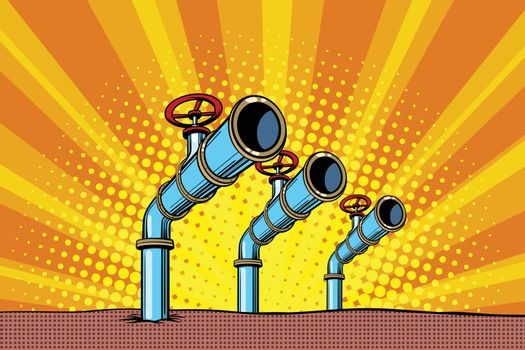 Three oil pipes