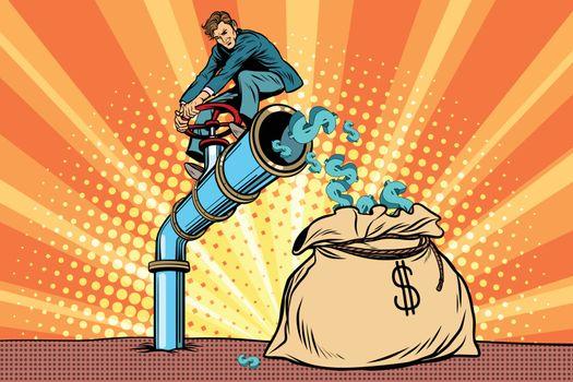 The financier sitting on cash tube