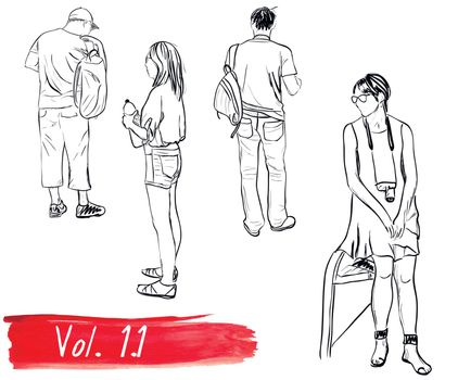 Set of hand-drawn people. Vector illustration EPS8
