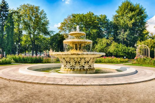 Scenic fountain inside Gorky Park, Moscow, Russia