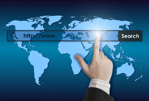 world map and world wide web searching