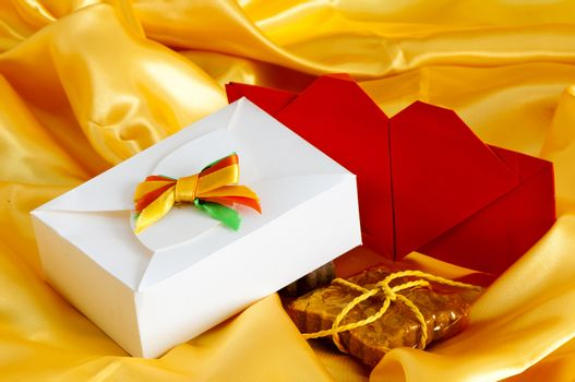 candy and weddings favors on yellow background