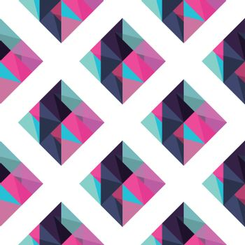 Abstract rhombus mosaic background design element. Pink, blue and purple colors