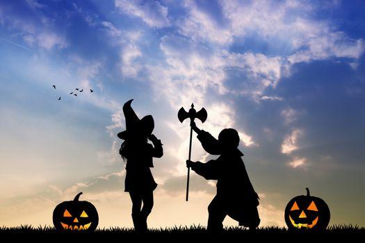 illustration of children on Halloween night