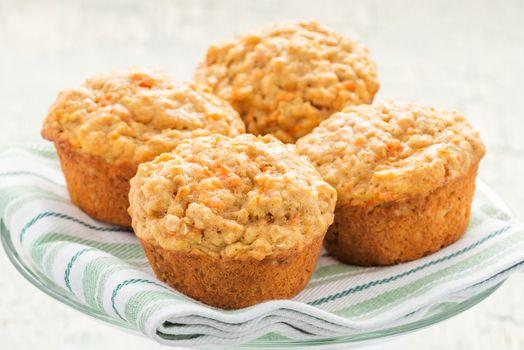 Carrot Oatmeal Muffins Closeup