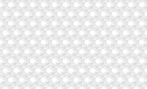 Abstract white flat hexagonal honeycomb futuristic cell pattern background. Vector illustration