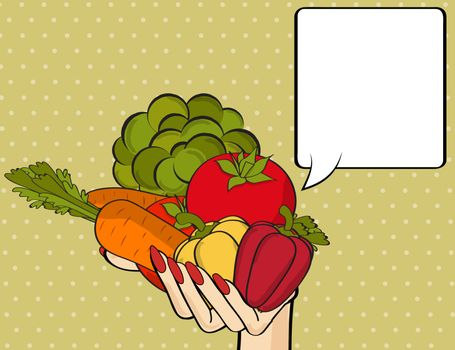 Woman hand with many vegetables