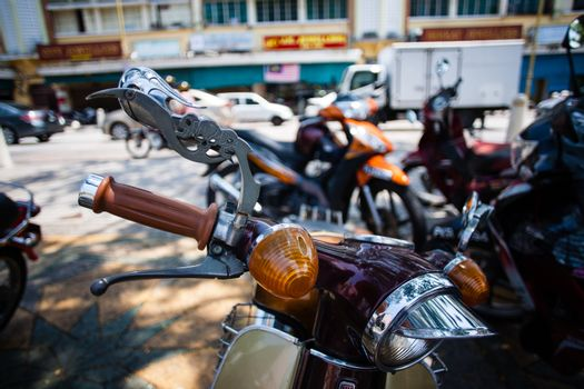 Row of motorcycles in the street shop