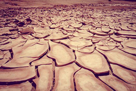 Cracked ground in Valle de la muerte desert, San Pedro de Atacam