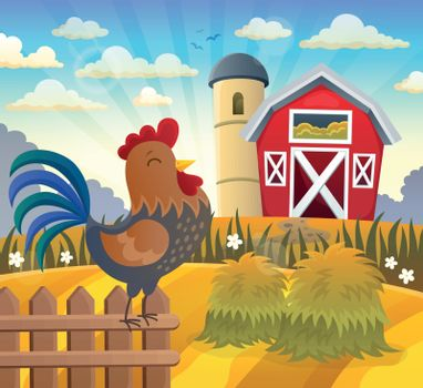 Farmland with rooster on fence