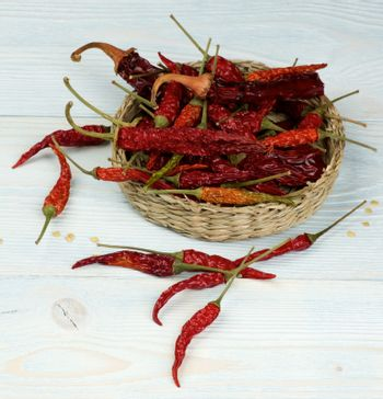Arrangement of Dried Chili Peppers Full Body with Stems  and Seeds in Wicker Bowl closeup on Light Blue Wooden background