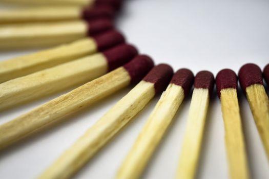 matches spread over semi circle
