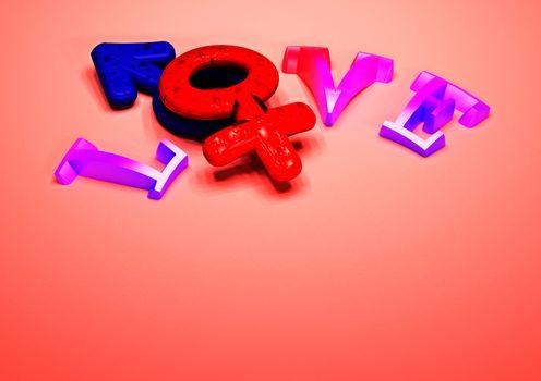Dimensional inscription of LOVE. 3D illustration.