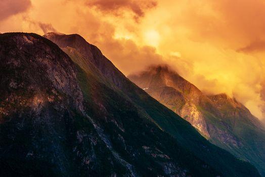 Norwegian Mountain Landscape at Sunset. Scenic Norway, Europe.