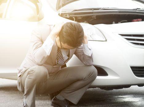 Business man car breakdown
