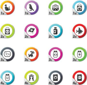Goods for pets web icons for user interface design