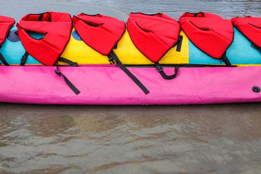 Colorful of banana boat in Thailand