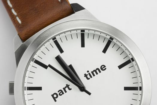 Analog watch with conceptual visualization of the text Part Time