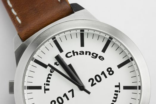 Analog watch with conceptual visualization of the text Time to Change 2017 2018