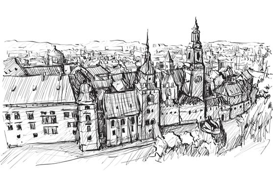 Sketch of cityscape in Poland show old building church