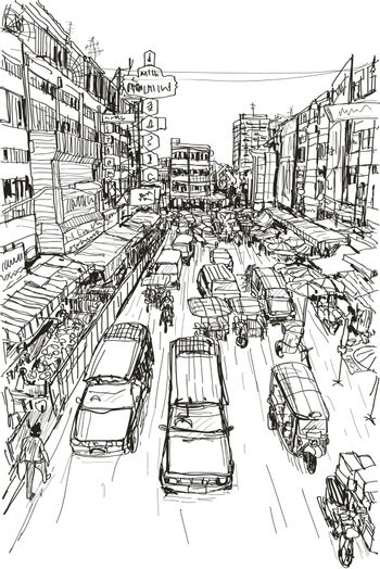 sketch Thai local market place in Chiangmai, free hand draw vect
