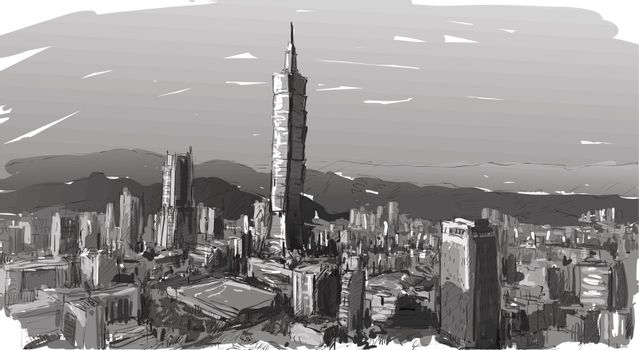 sketch of cityscape show townscape in Taiwan, Taipei building, i