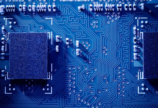 Close up Image of Electronic Circuit Board with Processor. Computer Technology Concept Background