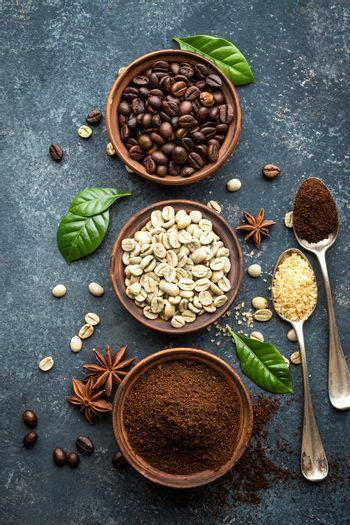 Coffee background, top view