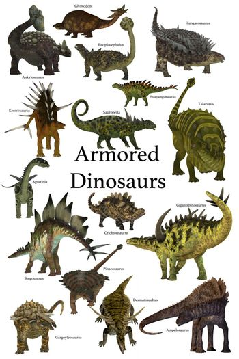 A collection of various armored dinosaurs from different prehistoric periods of Earth's history.