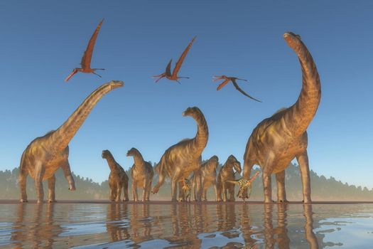 An Argentinosaurus and Deinocheirus herd gets upset when a flock of Anhanguera reptiles fly to close to them.