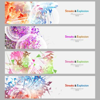 Streaks and explosion banner set