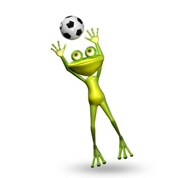 3D Illustration Green Frog with a Soccer Ball