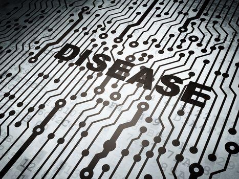 Medicine concept: circuit board with  word Disease, 3D rendering