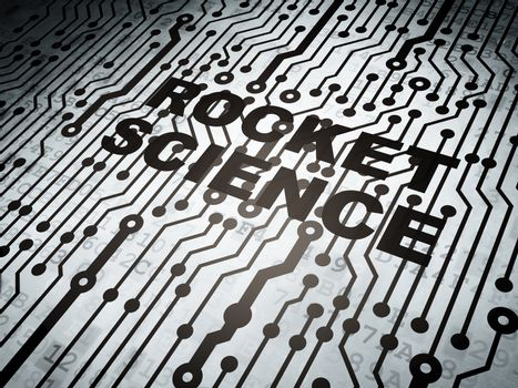 Science concept: circuit board with  word Rocket Science, 3D rendering