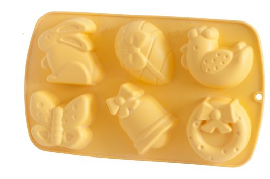 silicone molds for easter on a white background