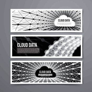 Cloud data connection technology. Vector set on grey background