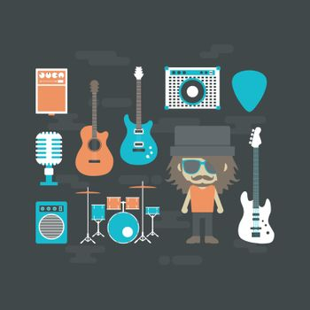 rock musician and music instrument