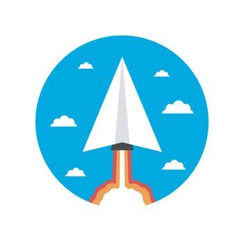 startup paper plane rocket