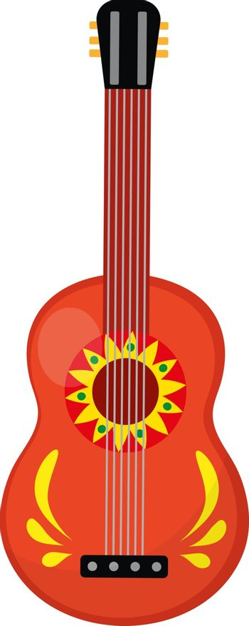 Cuatro guitar icon, flat style. Mexican musical instrument. Isolated on white background. Vector illustration, clip-art
