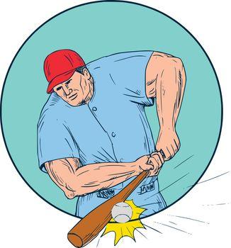 Baseball Player Hitting A Homerun Drawing