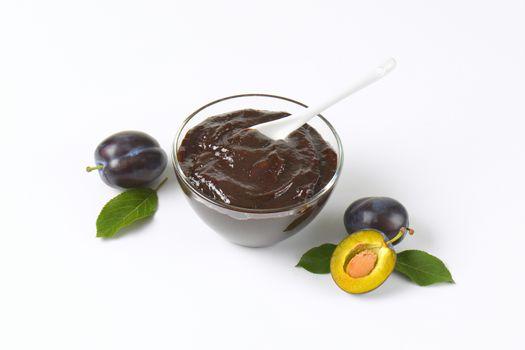 bowl of damson plum preserve