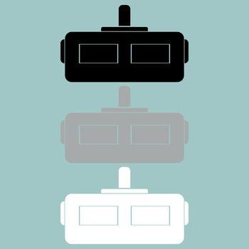 Virtual riality slam helmet head piece icon.