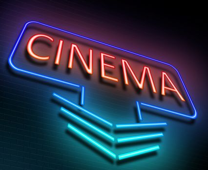 Illustration depicting an illuminated neon sign with a cinema concept.