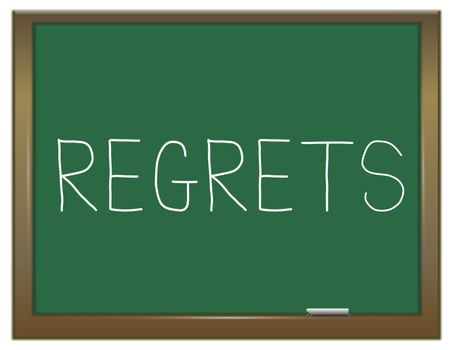 Illustration depicting a green chalkboard with a regrets concept.