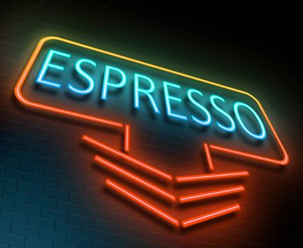 Illustration depicting an illuminated neon sign with an espresso concept.