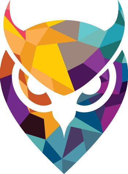 Isolated blue and yellow vector owl logo illustration school emblem Graduation symbol