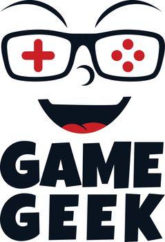 game geek gaming freak logo logotype theme cartoon face