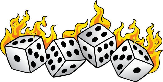 flaming on fire burning white dice risk taker gamble vector art