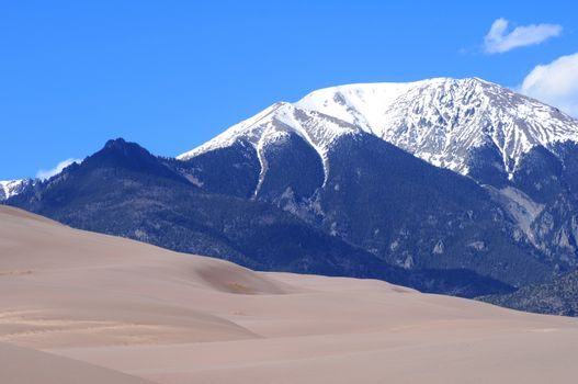 Colorado Landscape. Great Sand Dunes National Park and Rocky Mountains. Colorado USA.