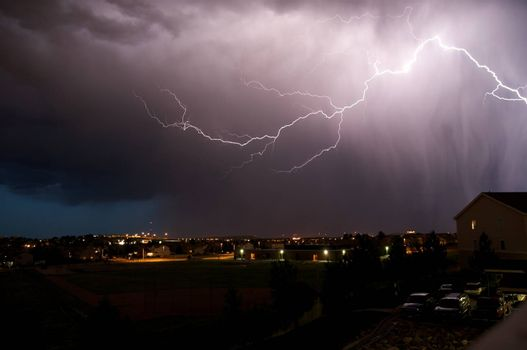 Summer Storm. Lightning Storm in Colorado USA. Severe Weather Imagery.
